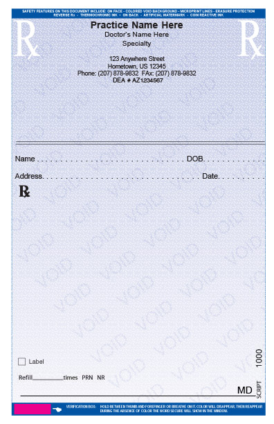 Rxpads home prescription pads for Template for prescription pad